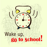 School background with ringing alarm-clock. Stock Photos