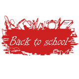 School background of school supplies. Back to school design temp. Late Royalty Free Stock Images