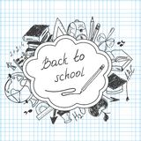 School background of school supplies Stock Photography