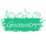 School background of school supplies. Geometry design template Stock Photography