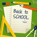 School background with stationery and paper sheets. Vector illus Royalty Free Stock Photography