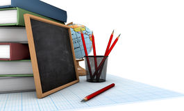 School background. School supllies on the background Royalty Free Stock Image