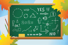 School background with symbols on blackboard Royalty Free Stock Images