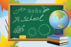 School background with symbols on blackboard Royalty Free Stock Photo