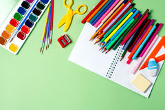 School background. Various school supplies on a desktop, copy space Stock Image