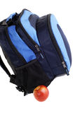 School Backpack. Blue School Backpack With A Red Apple, Isolated Over White Stock Photos