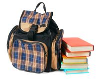 School backpack and books. Stock Photo