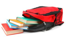 School backpack and books. Royalty Free Stock Photography