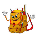 School backpack character with supplies Stock Photo