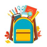 School backpack with education items. Illustration of colorful supplies and stationery Stock Photo
