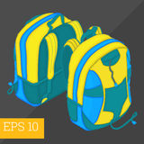 School backpack isometric vector illustration Royalty Free Stock Photography