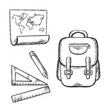 School backpack, map, pencil and rulers sketch Royalty Free Stock Image