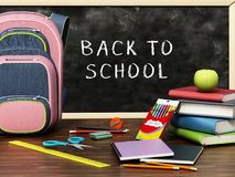 School backpack and objects scattered on the table. 3D illustration Stock Photography