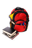 School Backpack Overflowing with supplies Stock Photography