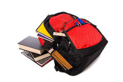 School Backpack Overflowing with supplies Royalty Free Stock Photos