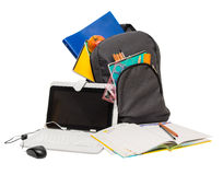 School backpack with school supplies and a tablet computer . Stock Photography