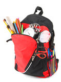 School backpack and school tools. Royalty Free Stock Images