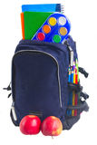 School backpack with stationery Stock Photos