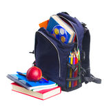 School backpack with stationery Stock Images