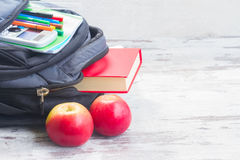 School backpack with supplies stock photography