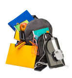 School backpack with supplies and a tablet with headphones. Stock Image