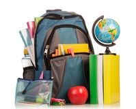 School Backpack with supplies Royalty Free Stock Images