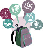 School backpack and symbols of subjects Royalty Free Stock Photos