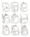 School backpacks set Royalty Free Stock Photo