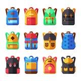 School backpacks vector set. Kids schoolbag flat collection Stock Images