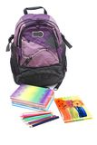 School Bag. Shcool Bag and stationary  isolated on White Background Stock Photography