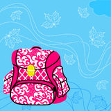 School bag. Blue background, flying maple leaves Royalty Free Stock Photography