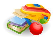 School bag. Vector illustration of school bag: notebook, book, paper and apple on white background Stock Photo