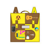 School bag with accessories Stock Photography