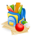 School bag and apple. School bag: pencil, book, pen, ruler and apple on paper Royalty Free Stock Image