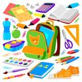 School bag backpack full of supplies children stationary zipper educational sack vector illustration. School bag. Backpack full of school supplies. Children Stock Images