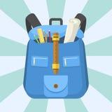 School bag backpack full of supplies children stationary zipper educational sack vector illustration. Stock Image