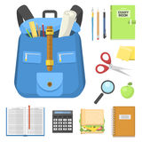 School bag backpack full of supplies children stationary zipper educational sack vector illustration. Royalty Free Stock Photos