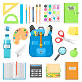 School bag backpack full of supplies children stationary zipper educational sack vector illustration. Stock Photo