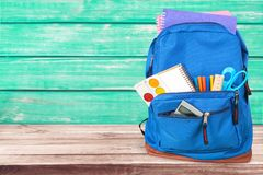 School. Bag backpack knapsack object calculator isolated Royalty Free Stock Photos