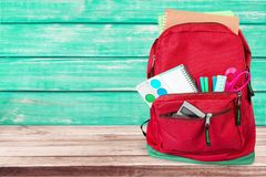 School. Bag backpack knapsack object calculator isolated Royalty Free Stock Images