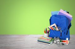 School. Bag backpack knapsack object calculator isolated Royalty Free Stock Image