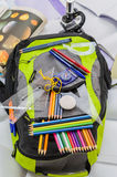 School bag, backpack, pencils, pens, eraser, school, holiday, rulers, knowledge, books Stock Photo