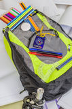 School bag, backpack, pencils, pens, eraser, school, holiday, rulers, knowledge, books Royalty Free Stock Image