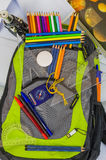 School bag, backpack, pencils, pens, eraser, school, holiday, rulers, knowledge, books Royalty Free Stock Photo