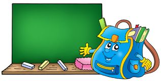School bag with blackboard. Color illustration Royalty Free Stock Photos