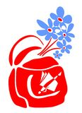 School bag and blue flowers. Red school bag and blue flowers bouquet on a white background Royalty Free Stock Images