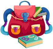 School bag with book Royalty Free Stock Images