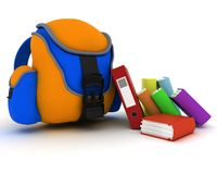 School Bag and Books Royalty Free Stock Photography