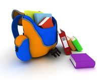 School Bag and Books. 3D Render of a School Bag and Books Royalty Free Stock Photography