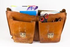 School bag with books. Old school bag with books royalty free stock photo